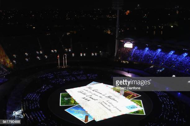 A general view during the Opening Ceremony for the Gold Coast 2018 Commonwealth Games at Carrara Stadium on April 4 2018 on the Gold Coast Australia