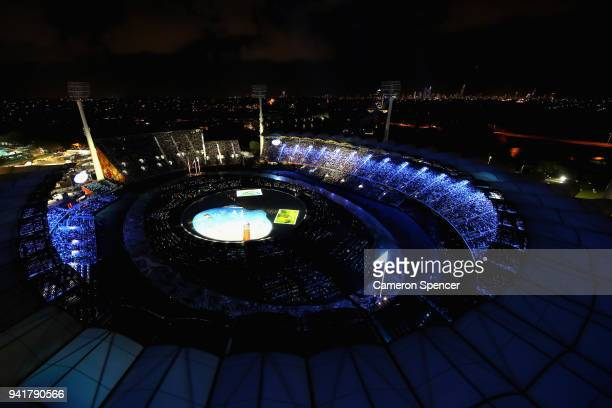 General view during the Opening Ceremony for the Gold Coast 2018 Commonwealth Games at Carrara Stadium on April 4, 2018 on the Gold Coast, Australia.