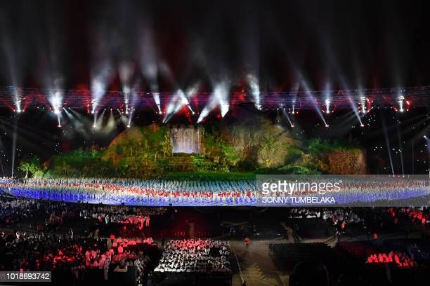 A general view during the opening ceremony of the 2018 Asian Games at the Gelora Bung Karno main stadium in Jakarta on August 18 2018