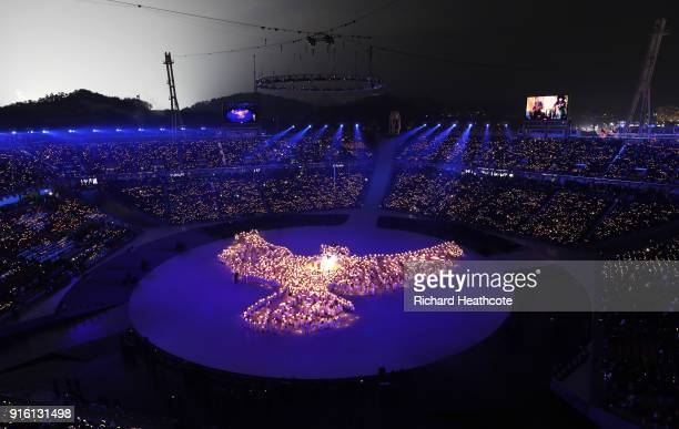 A general view during the Opening Ceremony of the PyeongChang 2018 Winter Olympic Games at PyeongChang Olympic Stadium on February 9 2018 in...