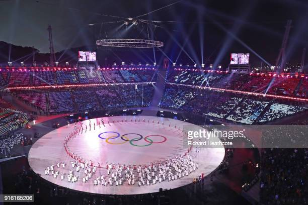 General view during the Opening Ceremony of the PyeongChang 2018 Winter Olympic Games at PyeongChang Olympic Stadium on February 9, 2018 in...