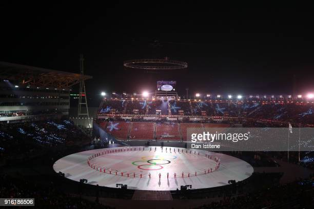 General view during the Opening Ceremony of the PyeongChang 2018 Winter Olympic Games at PyeongChang Olympic Stadium on February 9 2018 in...