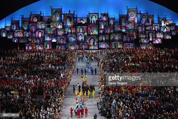 General view during the Opening Ceremony of the Rio 2016 Olympic Games at Maracana Stadium on August 5, 2016 in Rio de Janeiro, Brazil.