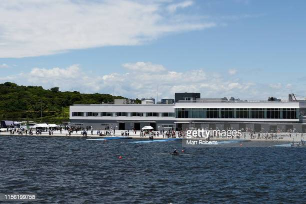 General view during the opening ceremony of the Sea Forest Waterway, canoe sprint and rowing venue of the Tokyo 2020 Olympic Games, on June 16, 2019...