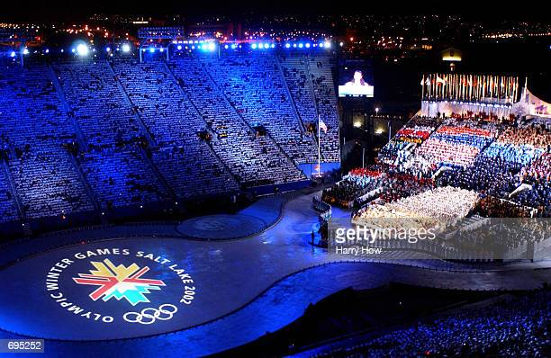 General view during the Opening Ceremony of the Winter Olympic Games at Rice Eccles Stadium February 8 2002 in Salt Lake City UT