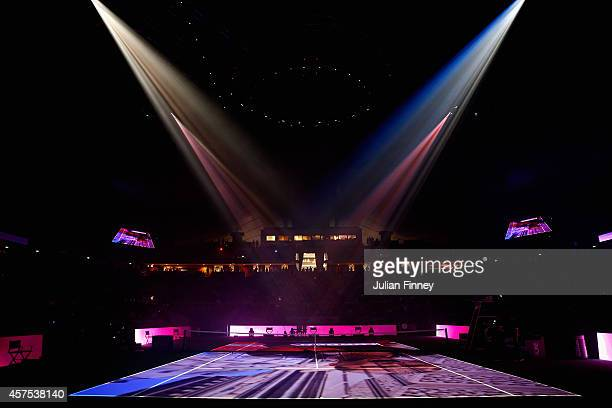 A general view during the opening ceremony on day one of the BNP Paribas WTA Finals tennis at the Singapore Sports Hub on October 20 2014 in Singapore