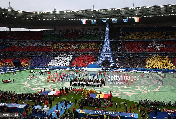 A general view during the opening ceremony prior to the UEFA Euro 2016 Group A match between France and Romania at Stade de France on June 10 2016 in...