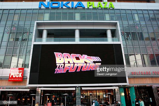 A general view during the outdoor screening of Back to the Future during the 2010 Los Angeles Film Festival at Nokia Plaza LA LIVE on June 26 2010 in...