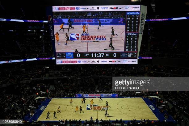 General view during the players during an NBA Global Games match between Orlando Magic and Utah Jazz at the Mexico City Arena, on December 14 in...