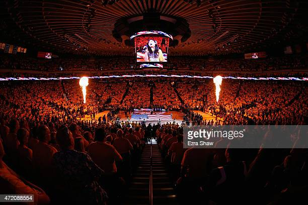 A general view during the playing of the National Anthem before the Golden State Warriors played against the Memphis Grizzlies Game One of the...
