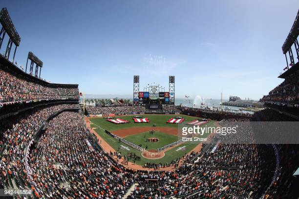A general view during the playing of the National Anthem before the the San Francisco Giants game against the Seattle Mariners at ATT Park on April 3...