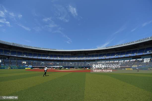 A general view during the Playoff Round match between Canada and Netherlands at ZOZO Marine Stadium on day nine of the WBSC Women's Softball World...