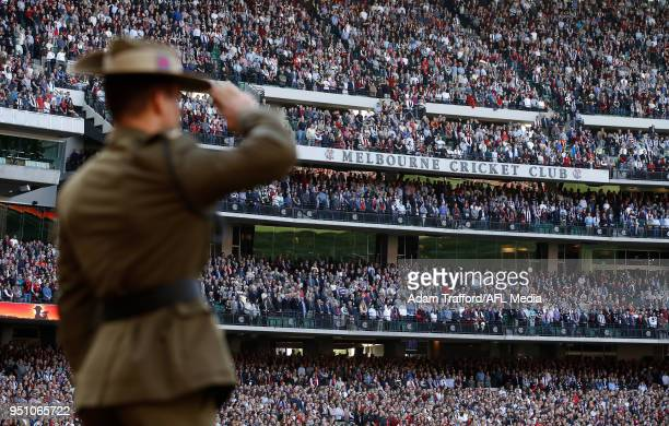 A general view during the pre match ceremony during the 2018 AFL round five ANZAC Day match between the Collingwood Magpies and the Essendon Bombers...