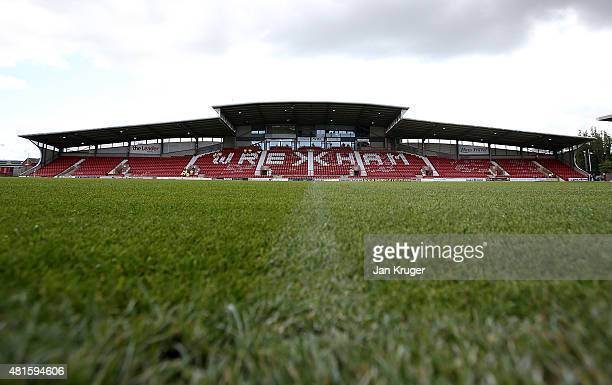 General view during the pre season friendly match between Wrexham and Stoke City at Racecourse Ground on July 22, 2015 in Wrexham, Wales.