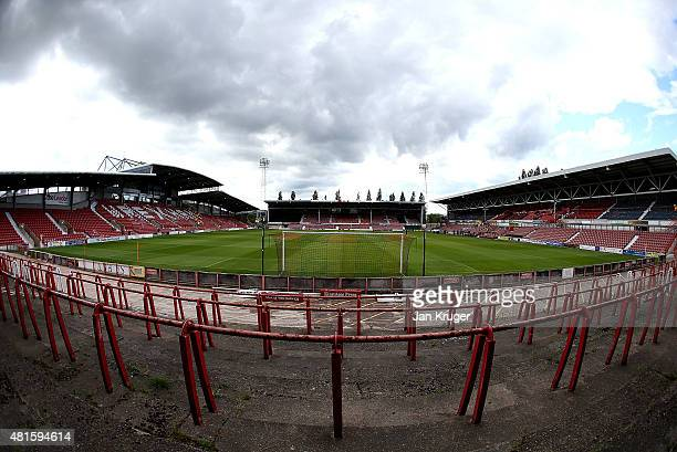 General view during the pre season friendly match between Wrexham and Stoke City at Racecourse Ground on July 22 2015 in Wrexham Wales