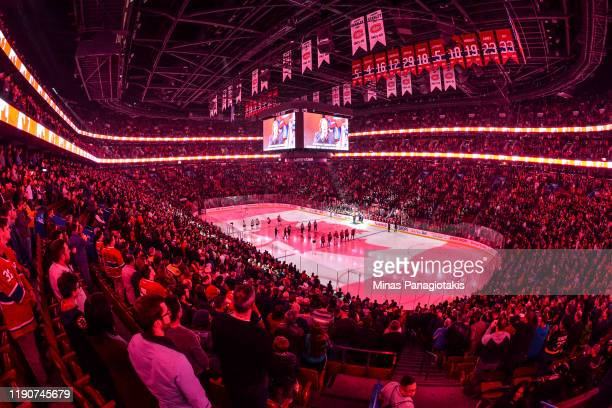 General view during the pre-game ceremony between the Montreal Canadiens and the Boston Bruins at the Bell Centre on November 26, 2019 in Montreal,...