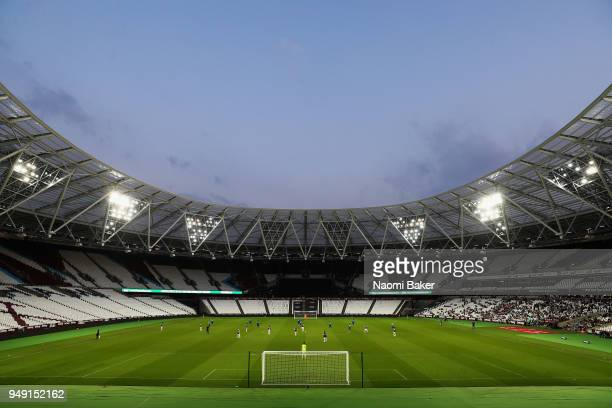 A general view during the Premier League 2 match between West Ham United and Arsenal at London Stadium on April 20 2018 in London England