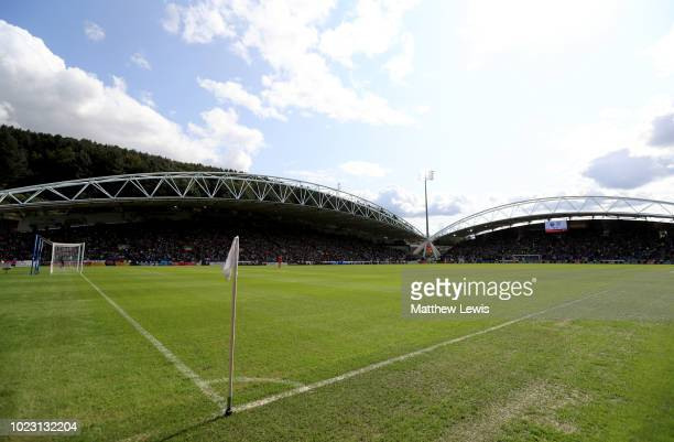 General view during the Premier League match between Huddersfield Town and Cardiff City at John Smith's Stadium on August 25 2018 in Huddersfield...