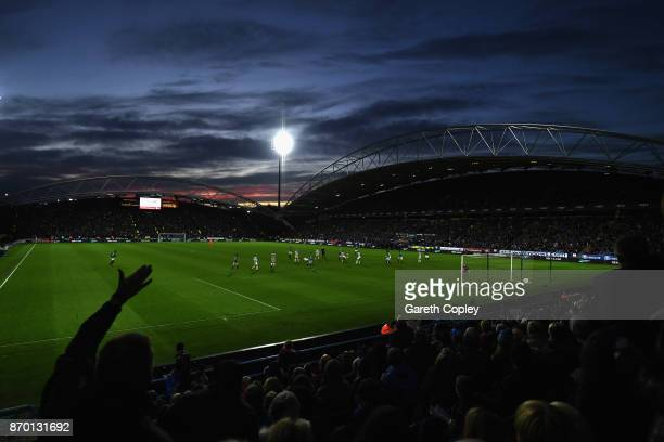 A general view during the Premier League match between Huddersfield Town and West Bromwich Albion at John Smith's Stadium on November 4 2017 in...