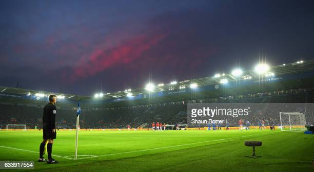 A general view during the Premier League match between Leicester City and Manchester United at The King Power Stadium on February 5 2017 in Leicester...