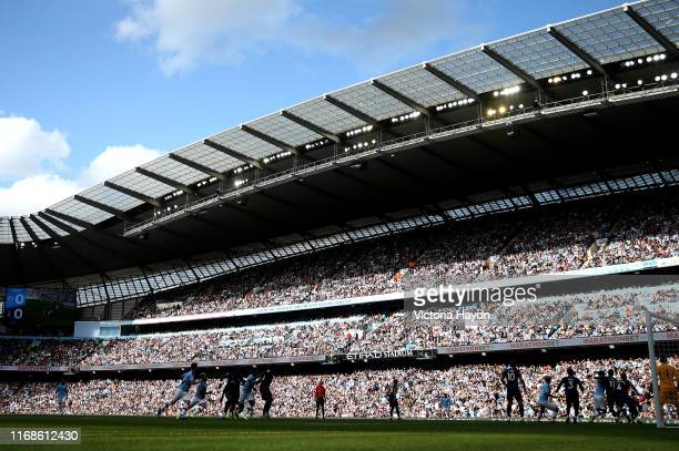 General view during the Premier League match between Manchester City and Tottenham Hotspur at Etihad Stadium on August 17 2019 in Manchester United...