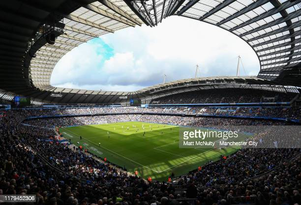 A general view during the Premier League match between Manchester City and Wolverhampton Wanderers at Etihad Stadium on October 06 2019 in Manchester...