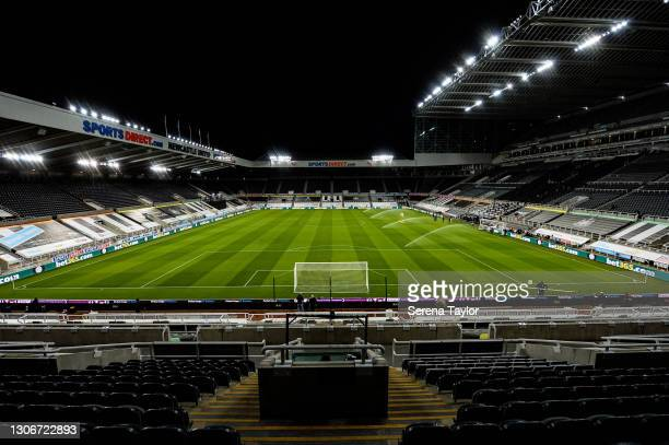 General view during the Premier League match between Newcastle United and Aston Villa at St. James Park on March 12, 2021 in Newcastle upon Tyne,...