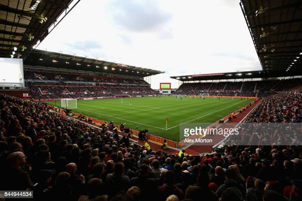 A general view during the Premier League match between Stoke City and Manchester United at Bet365 Stadium on September 9 2017 in Stoke on Trent...