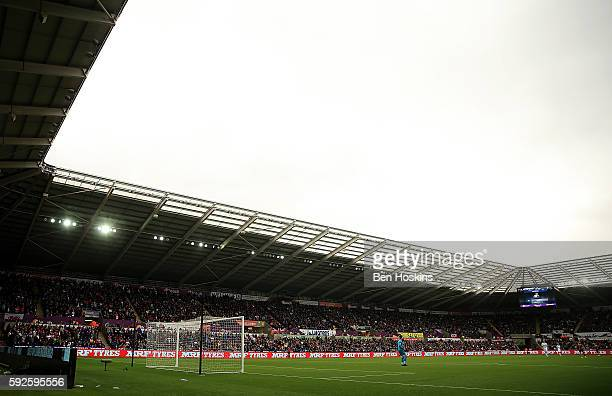 A general view during the Premier League match between Swansea City and Hull City at Liberty Stadium on August 20 2016 in Swansea Wales
