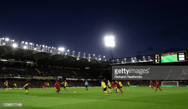 General view during the Premier League match between Watford FC and Liverpool FC at Vicarage Road on February 29, 2020 in Watford, United Kingdom.