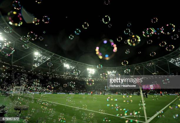 A general view during the Premier League match between West Ham United and Tottenham Hotspur at the London Stadium on May 5 2017 in Stratford England