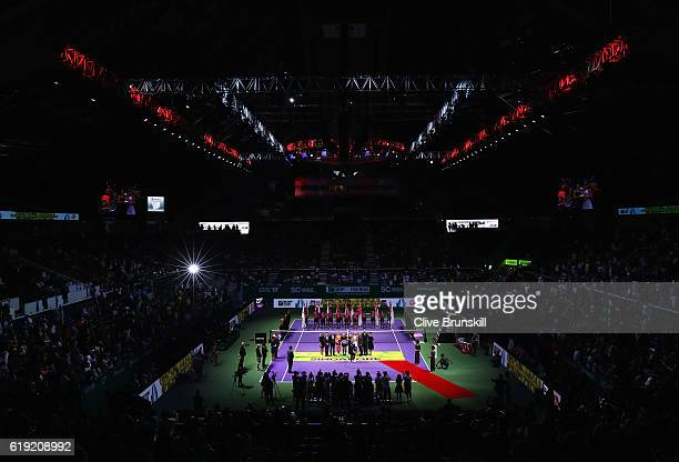 A general view during the presentation for the doubles final match between Bethanie MattekSands of the United States and Lucie Safarova of Czech...