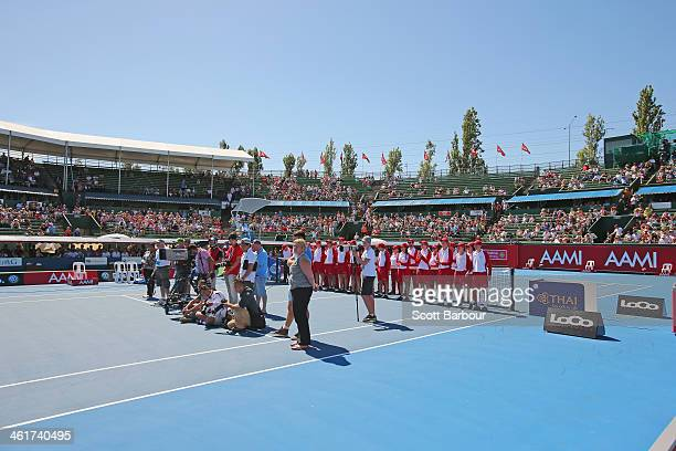 A general view during the presentations after the final during day four of the AAMI Classic at Kooyong on January 11 2014 in Melbourne Australia
