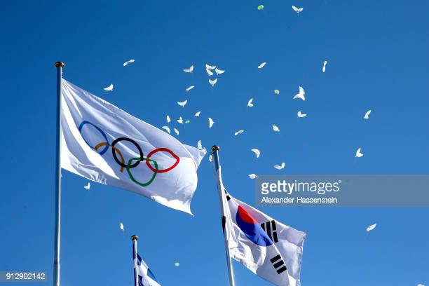 A general view during the PyeongChang 2018 Olympic Village opening ceremony at the PyeongChang 2018 Olympic Village Plaza on February 1 2018 in...