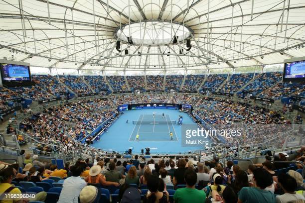 A general view during the quarter final doubles match between Alex de Minaur and Nick Kyrgios of Australia and Jamie Murray and Joe Salisbury of...