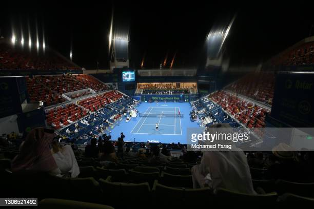 General view during the quarter final match between Roger Federer of Switzerland and Nikoloz Basilashvili of Georgia in the Qatar ExxonMobil Open at...