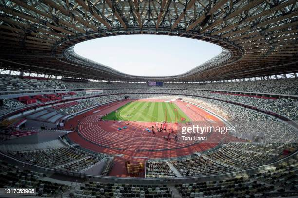 General view during the Ready Steady Tokyo - Athletics Olympic test event, part of the World Athletics Continental Tour, at the National Stadium on...