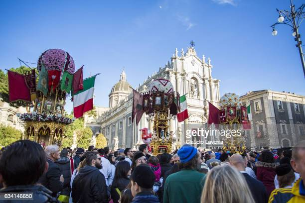 General view during the religious festival of Sant'Agata in Catania on February 5 2017 in Catania Italy The Religious Festival of SantAgata is one of...