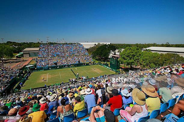 A general view during the reverse singles match between Sam Groth of Australia and Mikhail Kukushkin of Kazakhstan during day three of the Davis Cup...