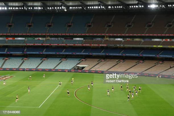 General view during the round 1 AFL match between the Richmond Tigers and the Carlton Blues at Melbourne Cricket Ground on March 19, 2020 in...