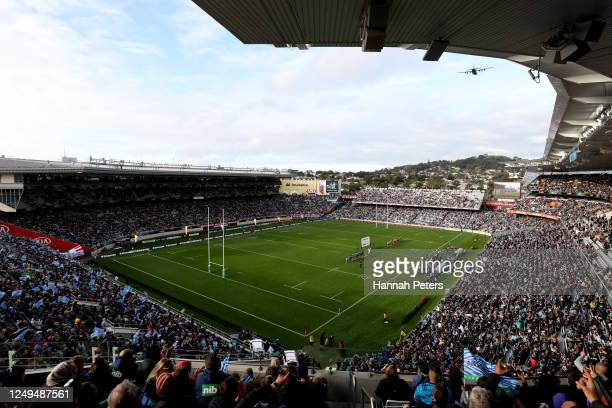 A general view during the round 1 Super Rugby Aotearoa match between the Blues and the Hurricanes at Eden Park on June 14 2020 in Auckland New Zealand