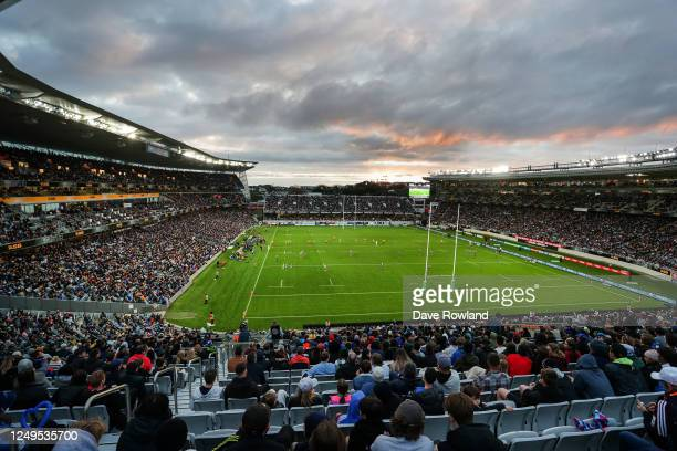 General View during the round 1 Super Rugby Aotearoa match between the Blues and the Hurricanes at Eden Park on June 14, 2020 in Auckland, New...