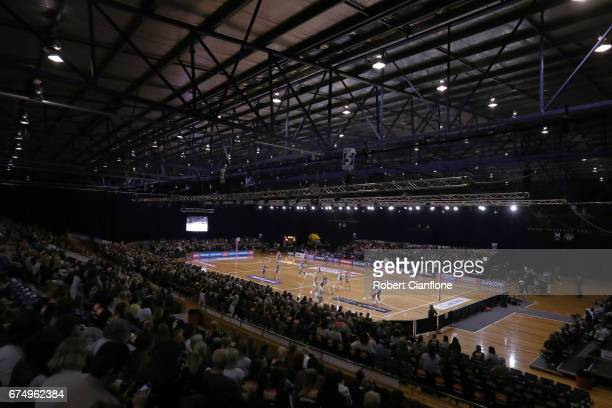 A general view during the round 10 Super Netball match between the Magpies and the Firebirds at the Silverdome on April 30 2017 in Launceston...