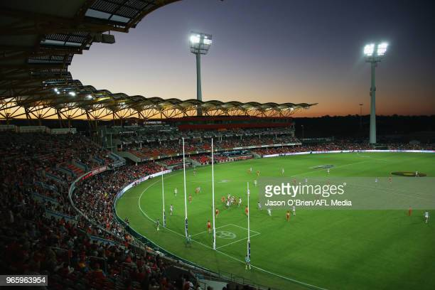 General view during the round 11 AFL match between the Gold Coast Suns and the Geelong Cats at Metricon Stadium on June 2, 2018 in Gold Coast,...
