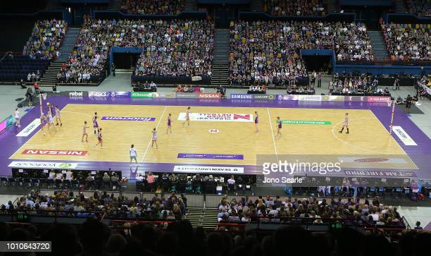 A general view during the round 14 Super Netball match between the Firebirds and the Magpies at the Brisbane Entertainment Centre on August 4 2018 in...