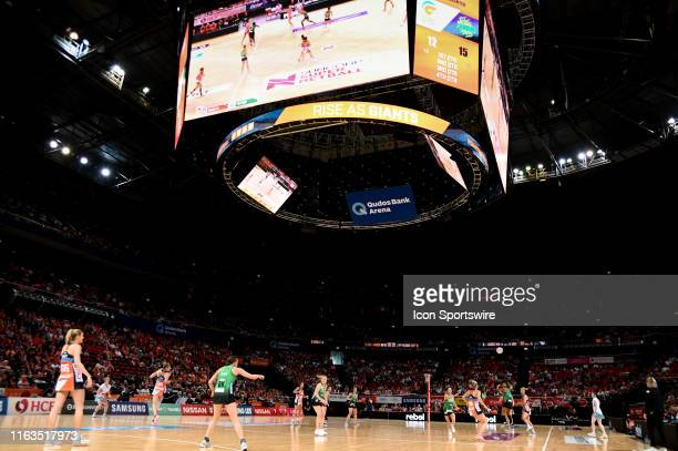General view during the round 14 Super Netball match between the Giants and the West Coast Fever at Qudos Bank Arena on August 24, 2019 in Sydney,...