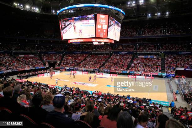 General view during the round 14 Super Netball match between the New South Wales Swifts and Queensland Firebirds at Qudos Bank Arena on August 24,...