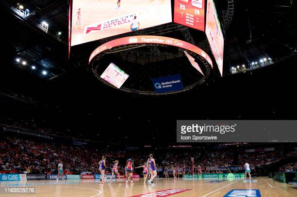 General view during the round 14 Super Netball match between the Sydney Swifts and the Queensland Firebirds at Qudos Bank Arena on August 24, 2019 in...