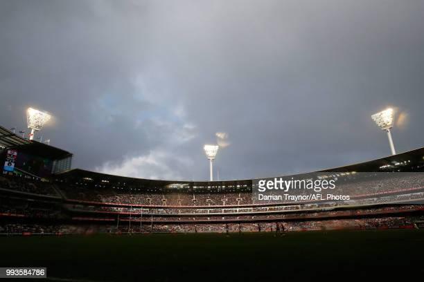 A general view during the round 16 AFL match between the Essendon Bombers and the Collingwood Magpies at Melbourne Cricket Ground on July 8 2018 in...