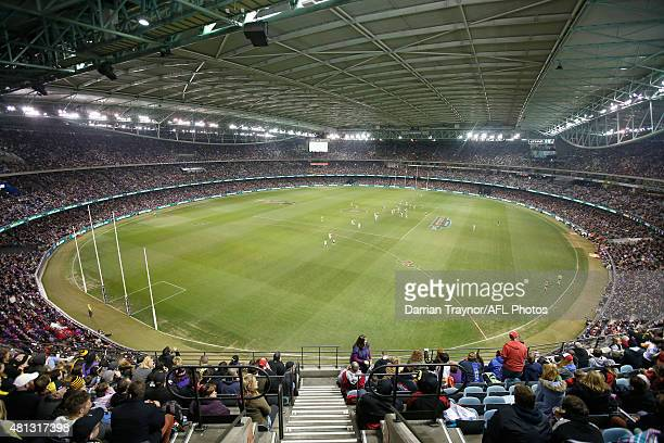 General view during the round 16 AFL match between the St Kilda Saints and the Richmond Tigers at Etihad Stadium on July 19, 2015 in Melbourne,...